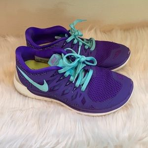 Nike Free 5.0 Running Sneakers Purple and Blue